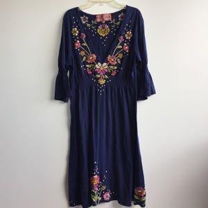 Johnny Was JWLA Embroidered Floral Dress Blue L